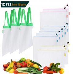Reusabe Produce Bags with Mesh Grocery Shopping Tote,12 Pack,Lightweight,See- Through,Zero Wast