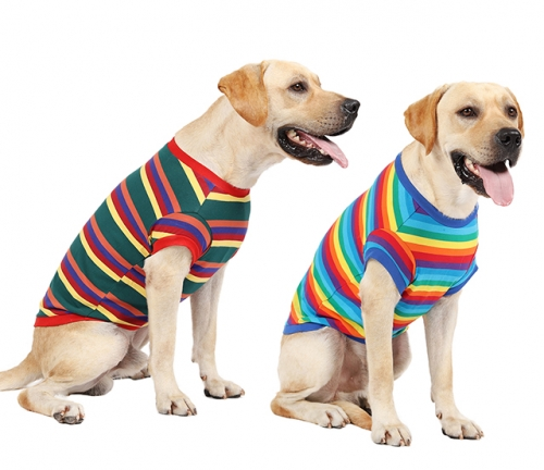 Dog Rainbow Striped Shirt Pet Cotton Clothes